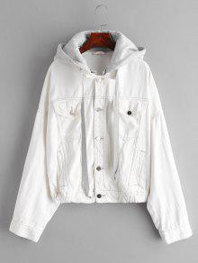 انخفاض الكتف جيب مقنعين سترة - أبيض L