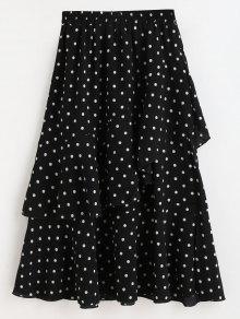 تنورة غير متناظرة من الكشكشة ميدي التنورة - أسود M