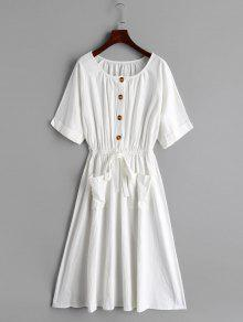 فستان مزين بنقوش نصفية - أبيض M