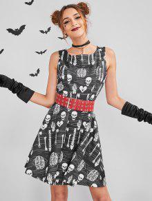 ZAFUL Skull Mini Halloween زي متزلج اللباس - أسود L