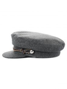 لون الصلبة لون الشتاء قبعة مسطحة - اللون الرمادي