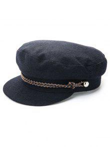 لون الصلبة لون الشتاء قبعة مسطحة - أسود