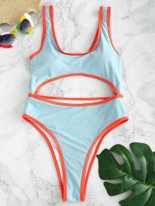 ZAFUL Cutout Twist High Cut Swimsuit - روبن البيض الأزرق L