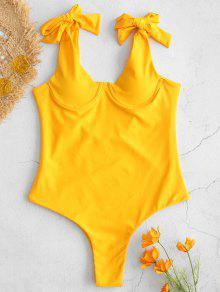 التعادل الكتف Underwire ملابس السباحة - أصفر فاقع L