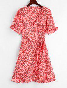 الأزهار طباعة ميني التفاف اللباس الشاي - أحمر M