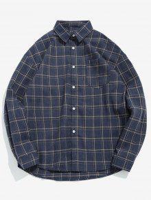 قميص جيب الصدر منقوشة عارضة - براون العميق S