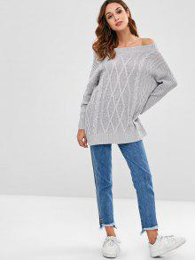 277eab0aa0 65% OFF  2019 Off The Shoulder Cable Knit Sweater In GRAY