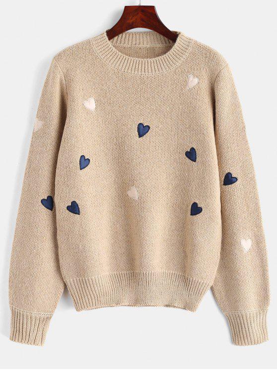 Rundhalsausschnitt Herzen Graphic Sweater - Helles Khaki Eine Größe