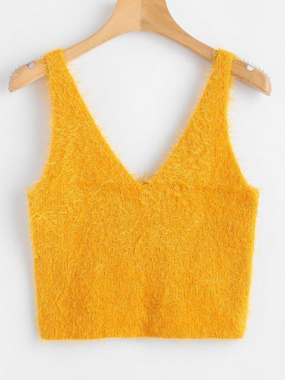 lady Vest Textured V Neck Sweater - BEE YELLOW S