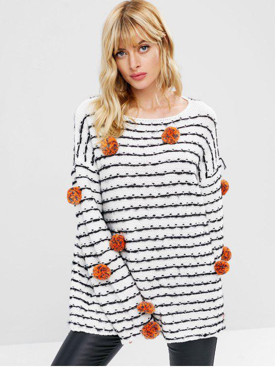 Suéter holgado a rayas Pom Ball - Blanco M
