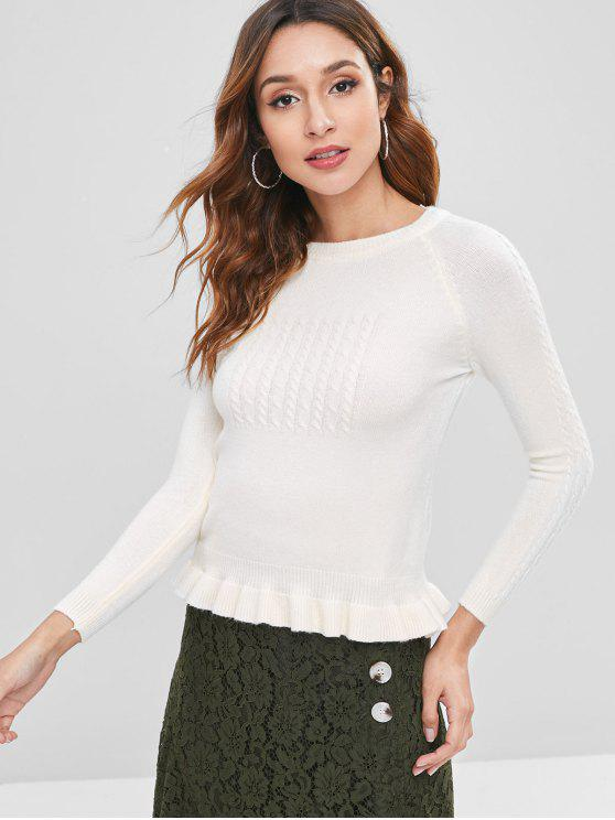 Zopfmuster Rüschen Sweater - Warmweiß Eine Größe