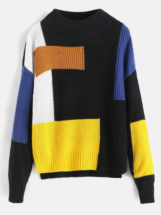 Farbblock-Mock-Neck-Pullover - Multi Eine Größe