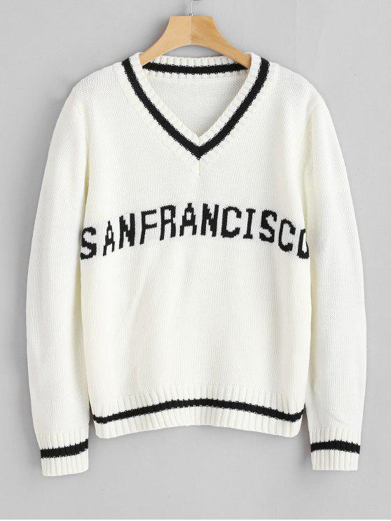 hot Graphic Cricket Sweater - WHITE ONE SIZE