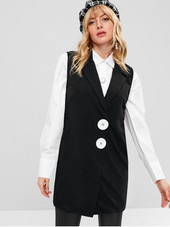 fancy Button Embellished Longline Waistcoat - BLACK M