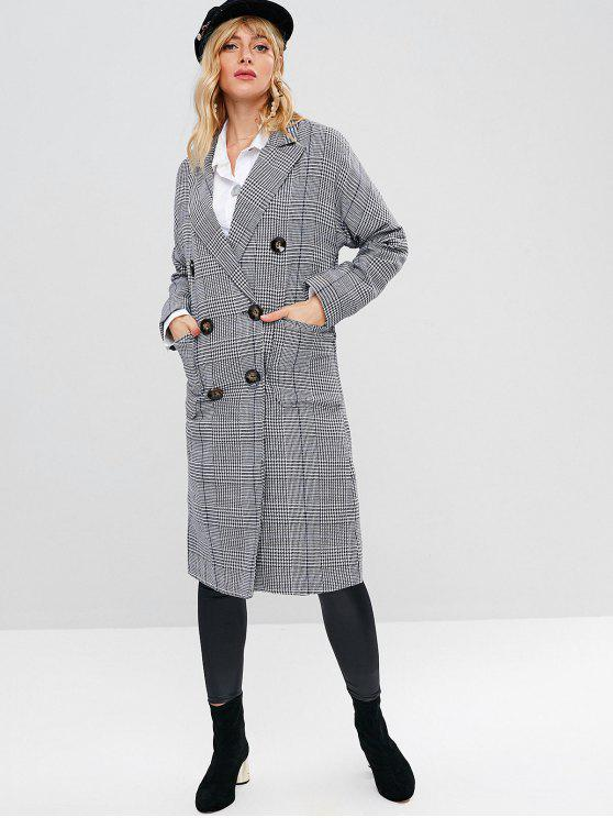 Hahnentritt Tweed Midi Mantel - Multi M