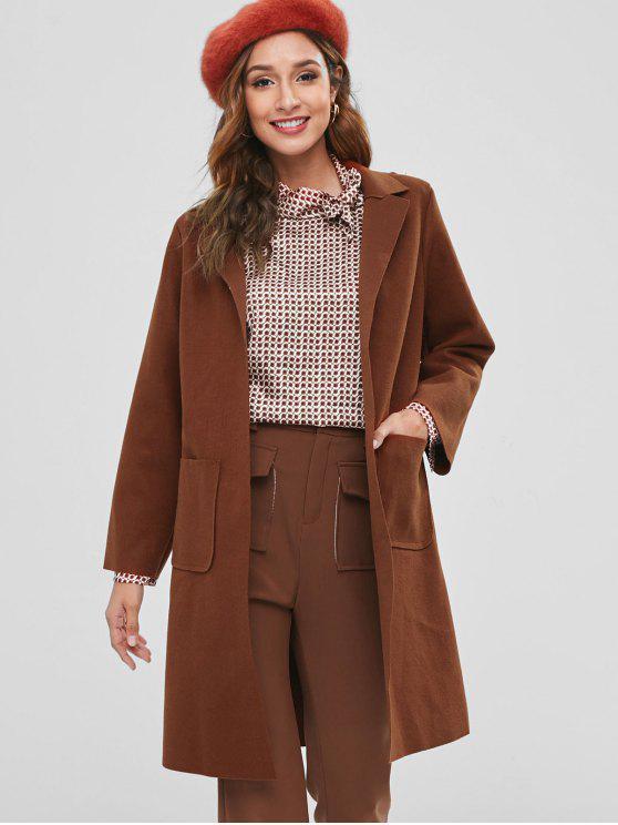 best Raw Cut Belted Faux Wool Coat - CHESTNUT M