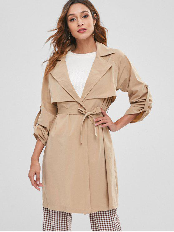 trendy On Seam Pocket Lightweight Trench Coat - LIGHT KHAKI L