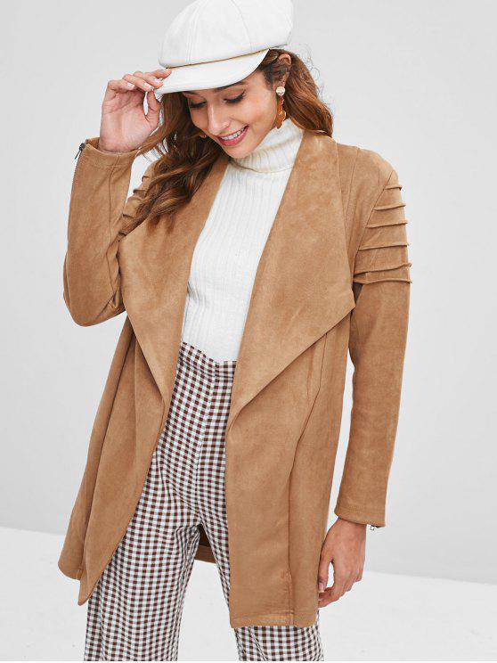 fashion Faux Suede Open Front Longline Coat - TAN L
