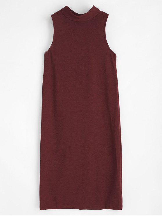 unique Buttons Mock Neck Dress - RED WINE M