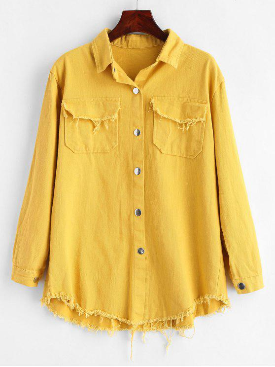 online Frayed Snap Button Shirt Jacket - BRIGHT YELLOW ONE SIZE