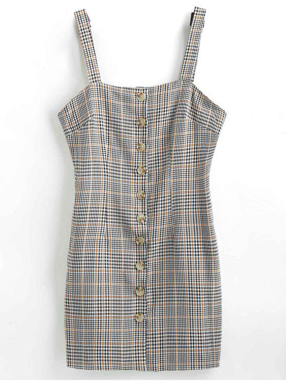 trendy Plaid Button Down Pinafore Dress - GRAY M
