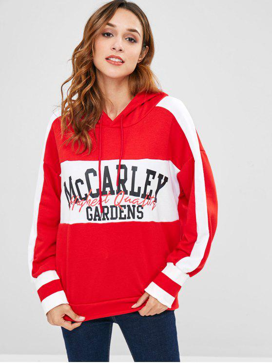 affordable Loose Stripes Panel Graphic Hoodie - LAVA RED L