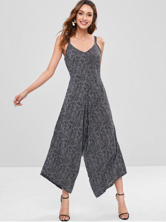 fashion Knotted Stripes Wide Leg Jumpsuit - BLACK S