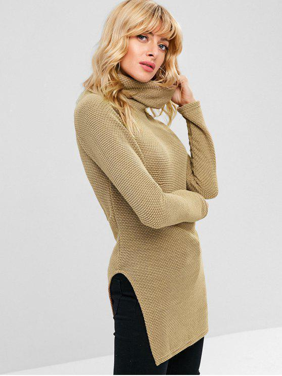 unique Longline Cutout Textured Top - CAMEL BROWN L