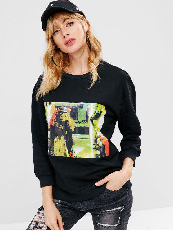Sweat-shirt Lâche Graphique à Goutte Epaule - Noir XS