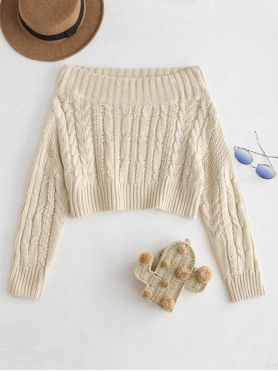 new Chunky Cable Knit Off Shoulder Sweater - BEIGE ONE SIZE