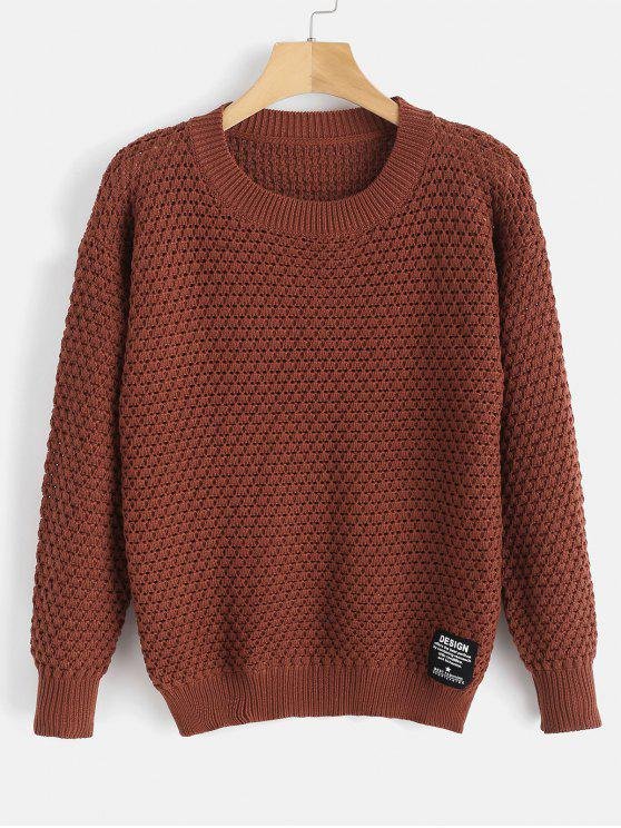 hot Drop Shoulder Sweater with Applique - CHESTNUT ONE SIZE