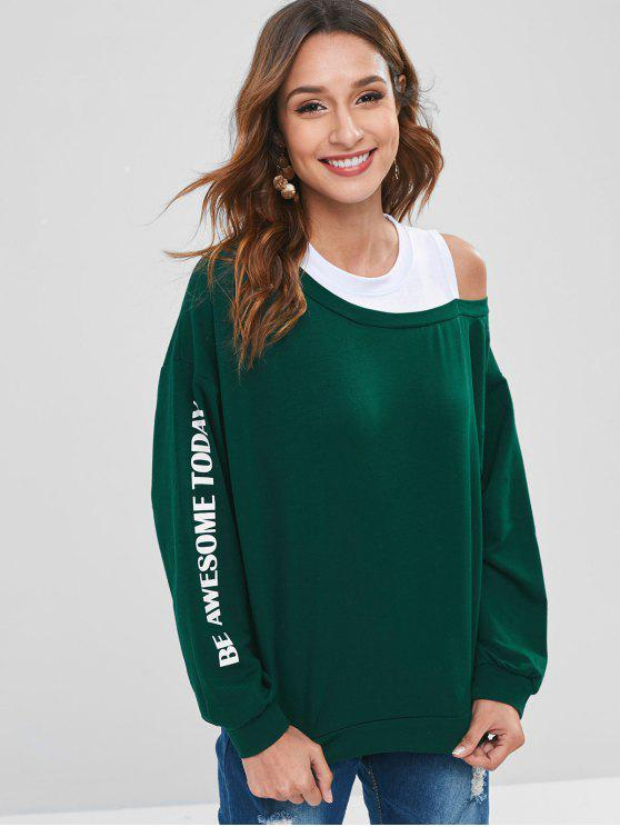 outfit Cut Out Two Tone Layered Effect Sweatshirt - SEA GREEN XL