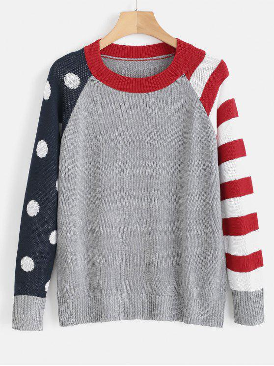 outfits Raglan Sleeve Striped Sweater - MULTI ONE SIZE