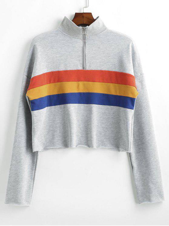 Sweat-shirt Rayé Demi-Zip à Goutte Epaule - Gris Clair L
