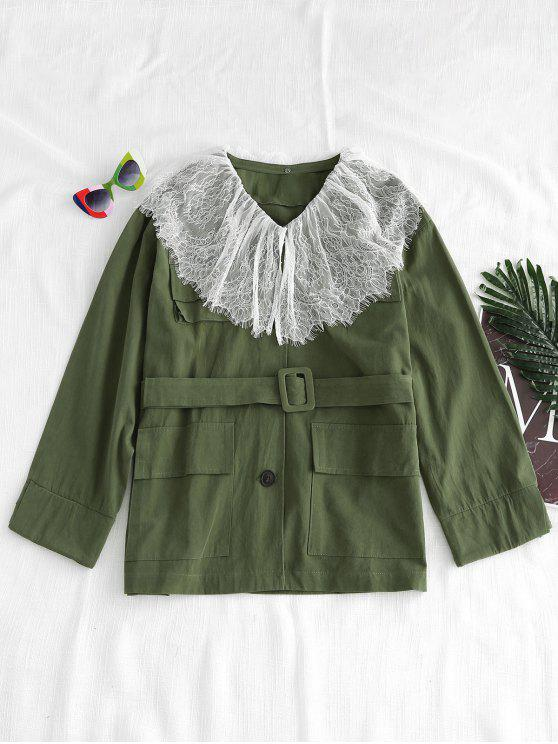 fashion Lace Overlay Oversized Twill Jacket - ARMY GREEN M