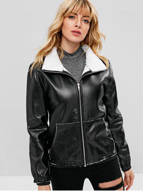 chic Faux Leather Fleece Lined Pocket Jacket - BLACK XL