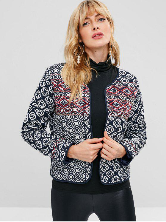 fancy Open Front Embroidered Quilted Jacket - MULTI M