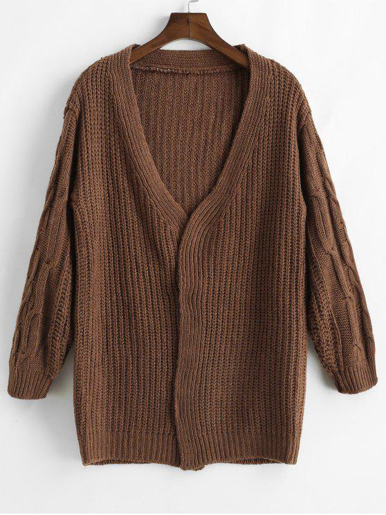 affordable Loose Fitting Solid Color Crochet Cardigan - COFFEE ONE SIZE