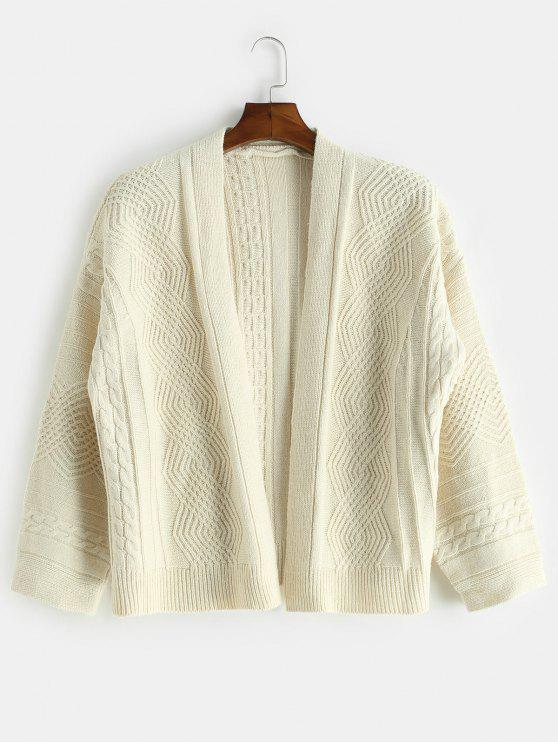 womens Loose Fitting Solid Color Cardigan - WARM WHITE