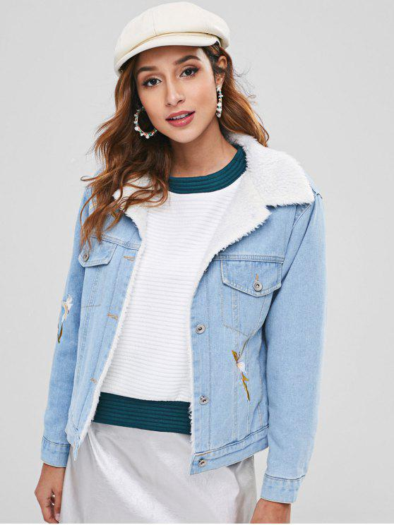 women Faux Fur Lined Flower Embroidered Denim Jacket - DAY SKY BLUE S