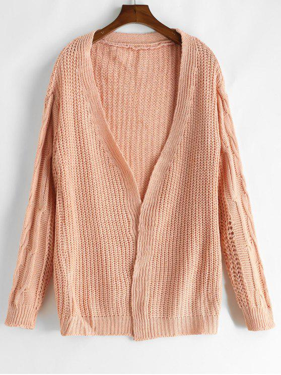 best Loose Fitting Solid Color Crochet Cardigan - PINK ONE SIZE