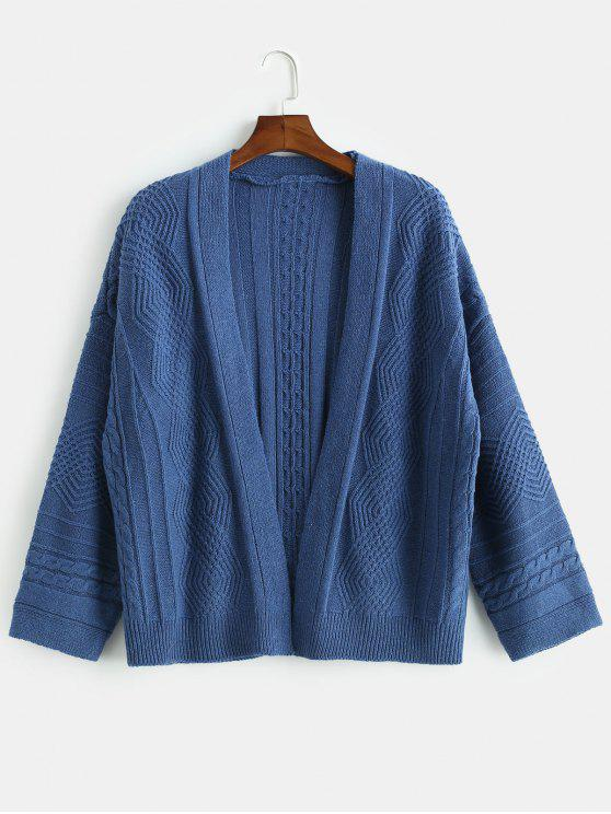 online Loose Fitting Solid Color Cardigan - DEEP BLUE