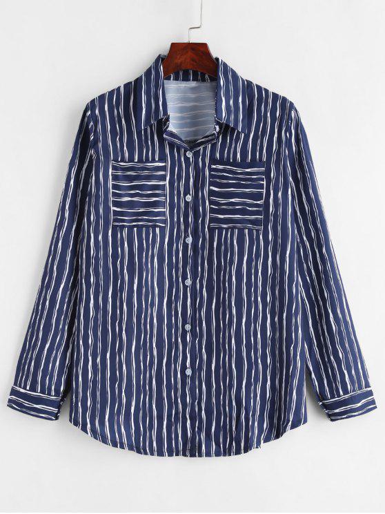 Chemise Longue Rayée avec Poche - Bleu Marine XL