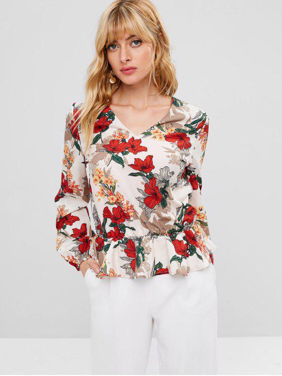 fashion Flower V Neck Peplum Blouse - WARM WHITE M