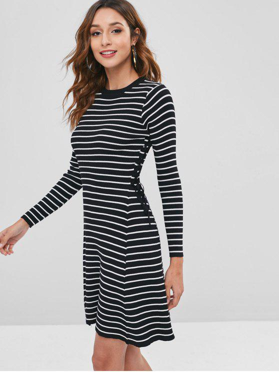 latest Contrast Lace Up Striped Sweater Dress - BLACK ONE SIZE
