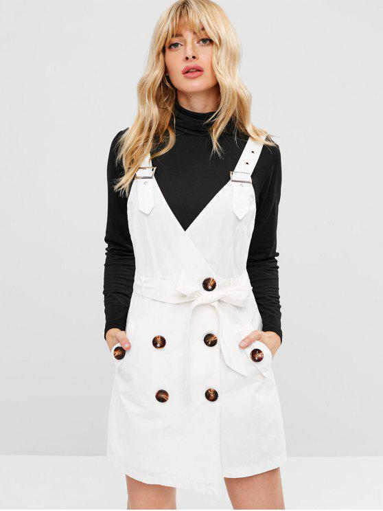 best Belted Button Down Pocket Mini Dress - WHITE S
