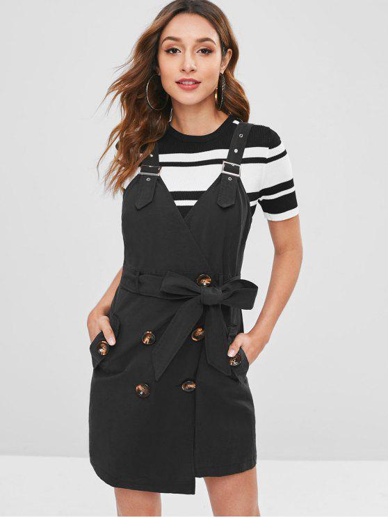 shops Belted Button Down Pocket Mini Dress - BLACK S