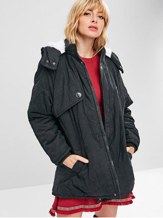 chic Faux Fur Lined Winter Coat - BLACK 2XL