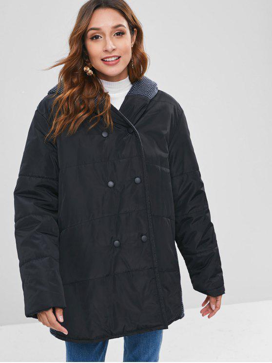 جنبا إلى جنب مجتمعة متماسكة مبطن معطف الشتاء - أسود 2XL