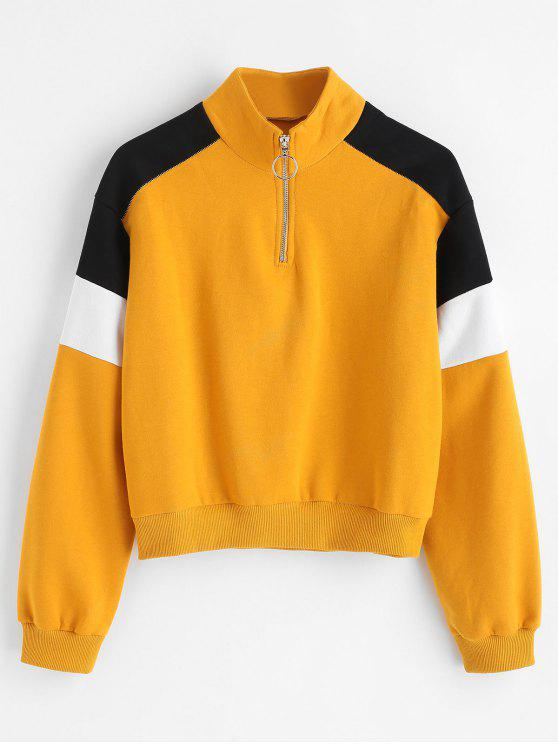 shop Quarter Zip High Collar Fleece Sweatshirt - MUSTARD M